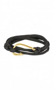 HAFEN-KLUNKER Wickelarmband Angelhaken 107653 Edelstahl Textil schwarz gold