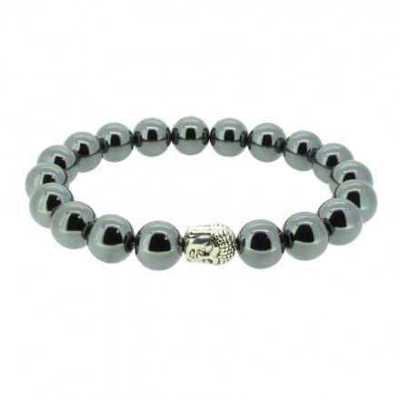 Silverart Buddha Armband 107836 FAB044 Hämatit dunkelgrau glänzend Metal nickelfrei versilbert