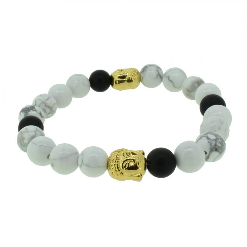 Silverart Buddha Armband 108096 FAB083 Obsidian Howlith weiß schwarz Metal nickelfrei vergoldet