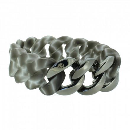 HANSE-KLUNKER ORIGINAL Damen Armband 107411 Edelstahl grau weiss gun metal