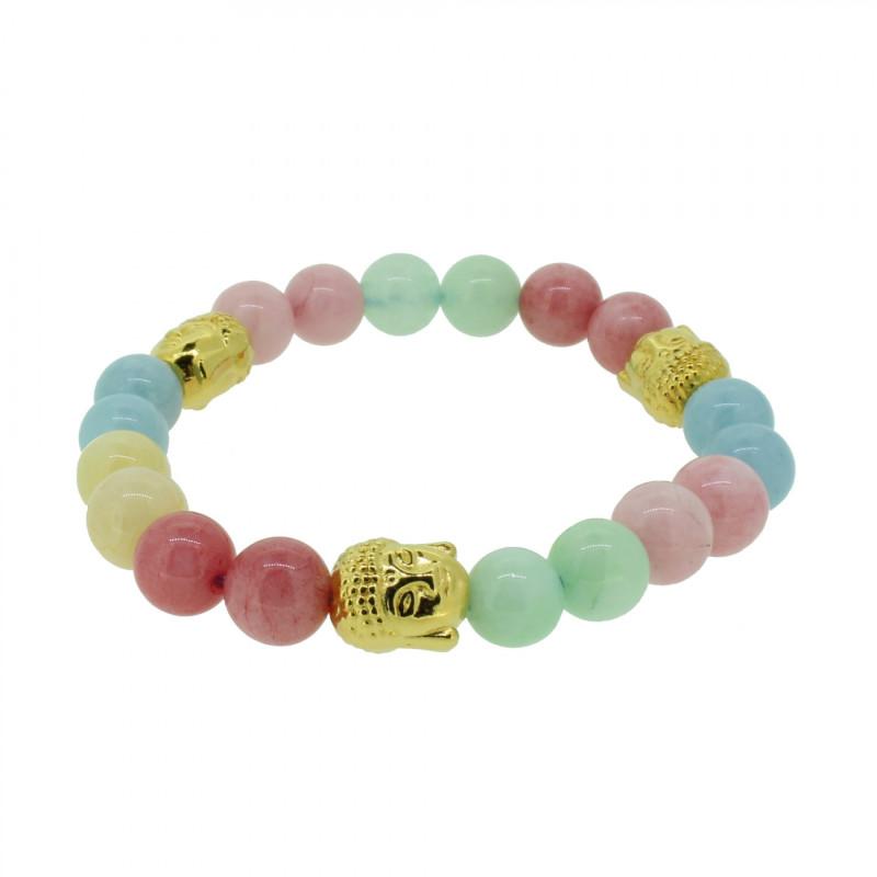 Silverart Buddha Armband 108102 FAB086 Achat Honig-Jade Aquamarin pastell bunt Metal nickelfrei verg