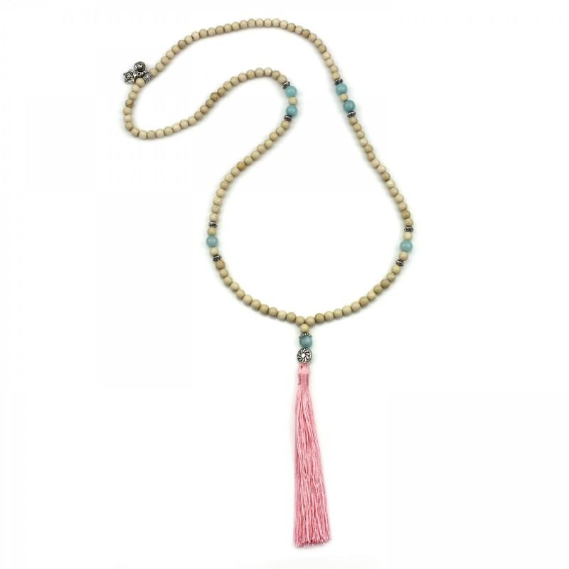 PEARL BAY Damen Perlenkette 107601 Glückssymbole Quaste Jade Stein rosa beige