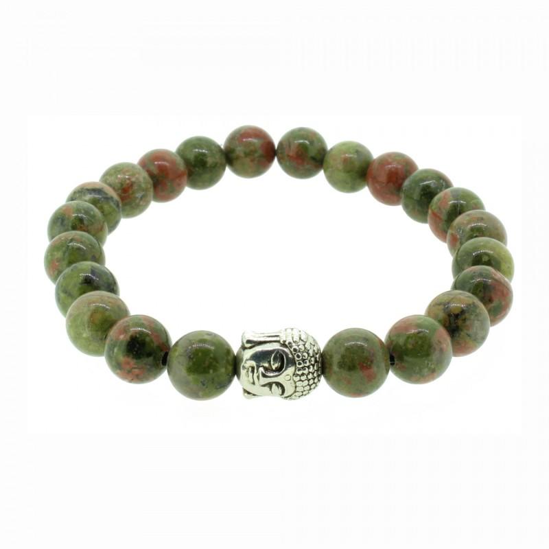 Silverart Buddha Armband 107859 FAB021 Unakit grün rot meliert Metal nickelfrei versilbert