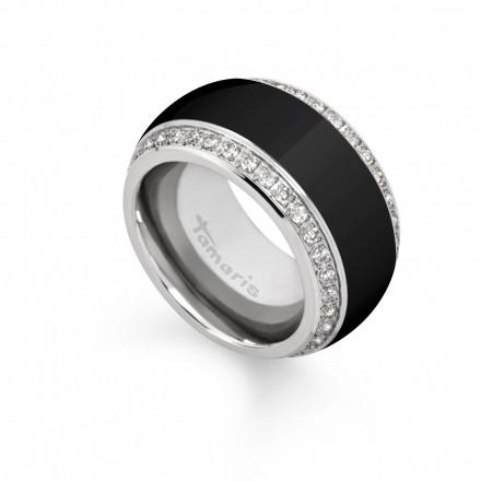 Tamaris Ring Martha 106889 Edelstahl Zirkonia schwarz