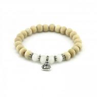 PEARL BAY Perlenarmband 107546 Buddha Kristall Holz weiss beige