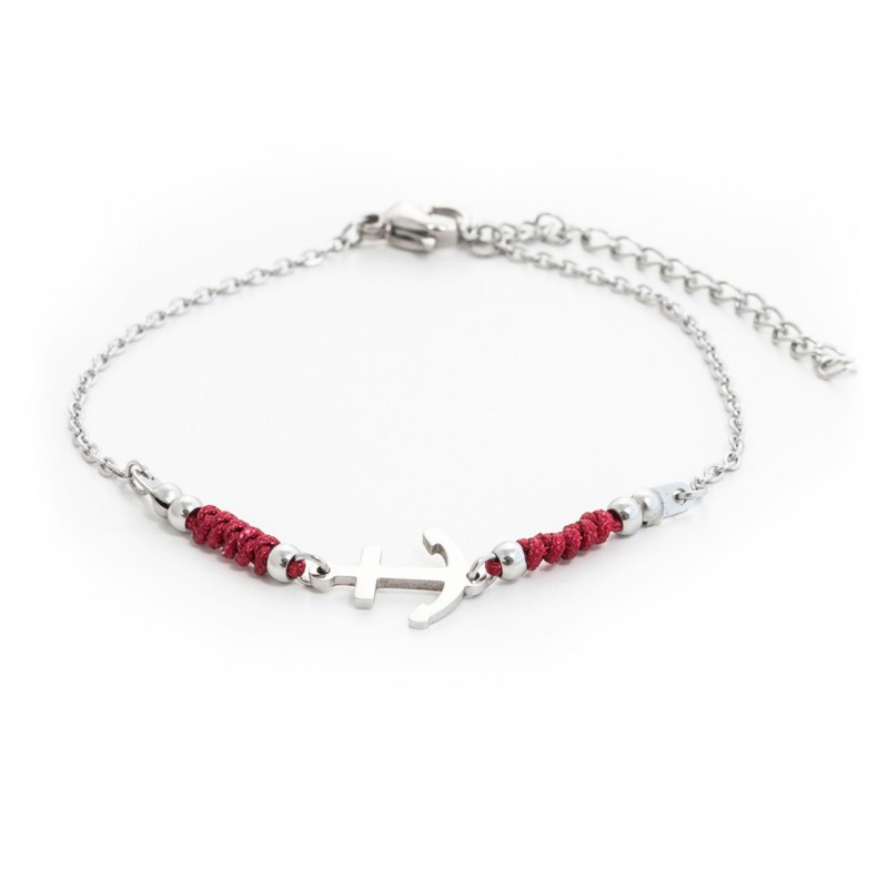 HAFEN-KLUNKER HARMONY Anker Armband 110407 Textil Edelstahl Bordeaux Silber