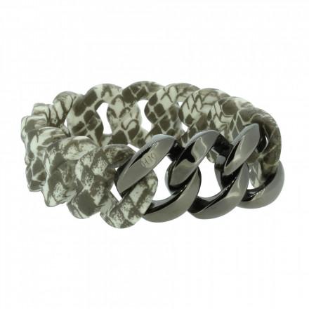 HANSE-KLUNKER ORIGINAL Damen Armband 107038 Edelstahl schlange gun metal