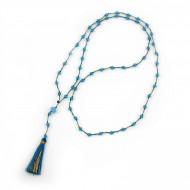 PEARL BAY Damen Perlenkette 107581 Quaste Kristall hellblau gold