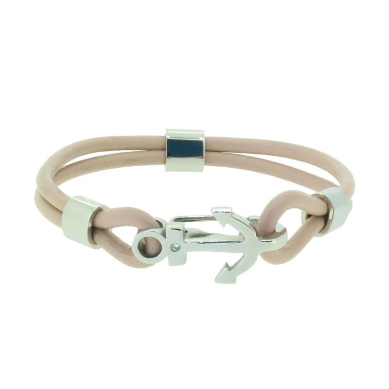 HAFEN-KLUNKER Anker Armband 110508 Edelstahl Leder Zirkonia Beige Silber
