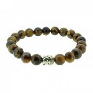 Silverart Buddha Armband 107837 FAB043 Tigerauge braun Metal nickelfrei versilbert