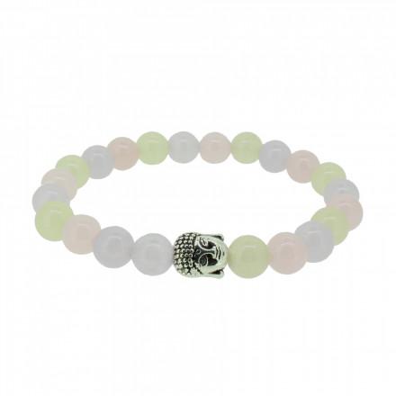 Silverart Buddha Armband 108076 FAB070 Achat pastellrosa pastellgelb Metal nickelfrei versilbert