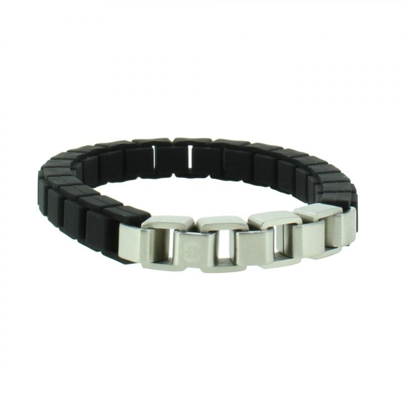 HANSE-KLUNKER FASHION Armband 108027 Edelstahl schwarz silber matt