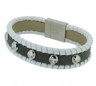 POLICE Herren Armband PJ24410BLGR-01-L Leder grau weiss