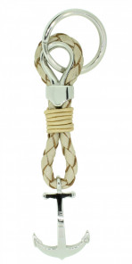 HAFEN-KLUNKER Sailor Collection Schlüsselanhänger Anker 108060 Leder Edelstahl beige silber