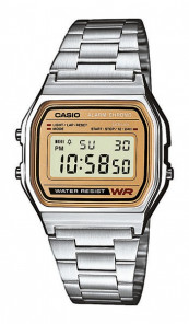 CASIO Retro Digitaluhr A158WEA-9EF silber braun