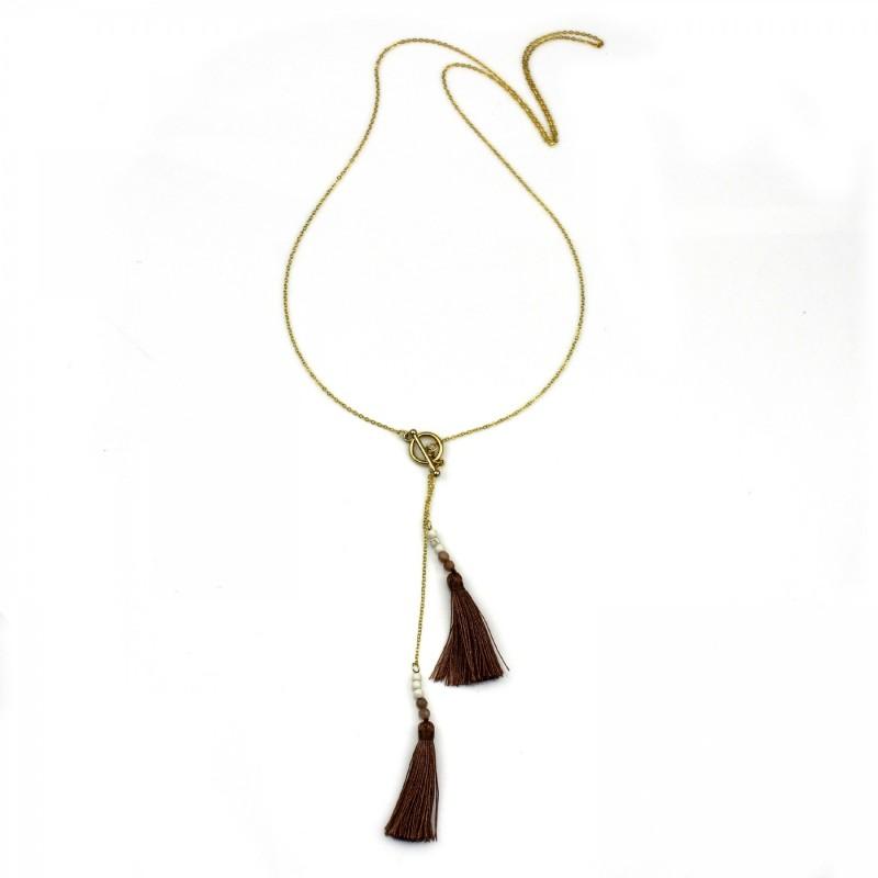 PEARL BAY Damen Kette 107583 Quaste Metall Stein gold braun