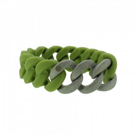 HANSE-KLUNKER ORIGINAL Damen Armband 107782 Edelstahl oliv silber sandgestrahlt
