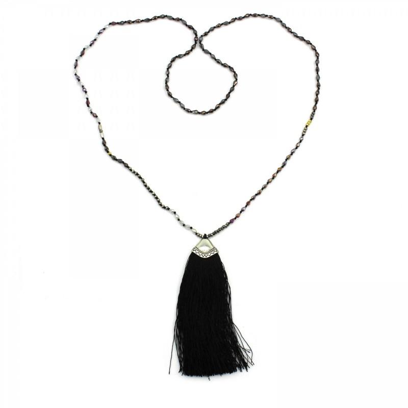 PEARL BAY Damen Perlenkette 107607 Quaste Süßwasserperle Kristall schwarz silber