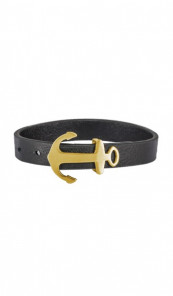 HAFEN-KLUNKER Anker Armband 107694 Edelstahl Leder schwarz gold matt