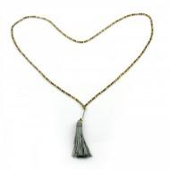 PEARL BAY Damen Perlenkette 107590 Quaste Miyuki Hämatit grau gold