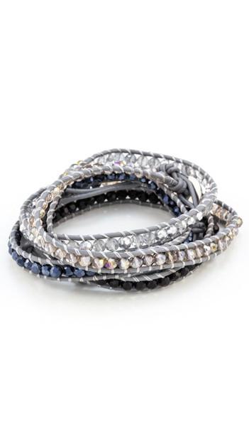 MARC SWAN Wickelarmband 100134 Leder grau schwarz