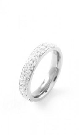 Grey Ring Crystal 100055 Edelstahl Kristall silber
