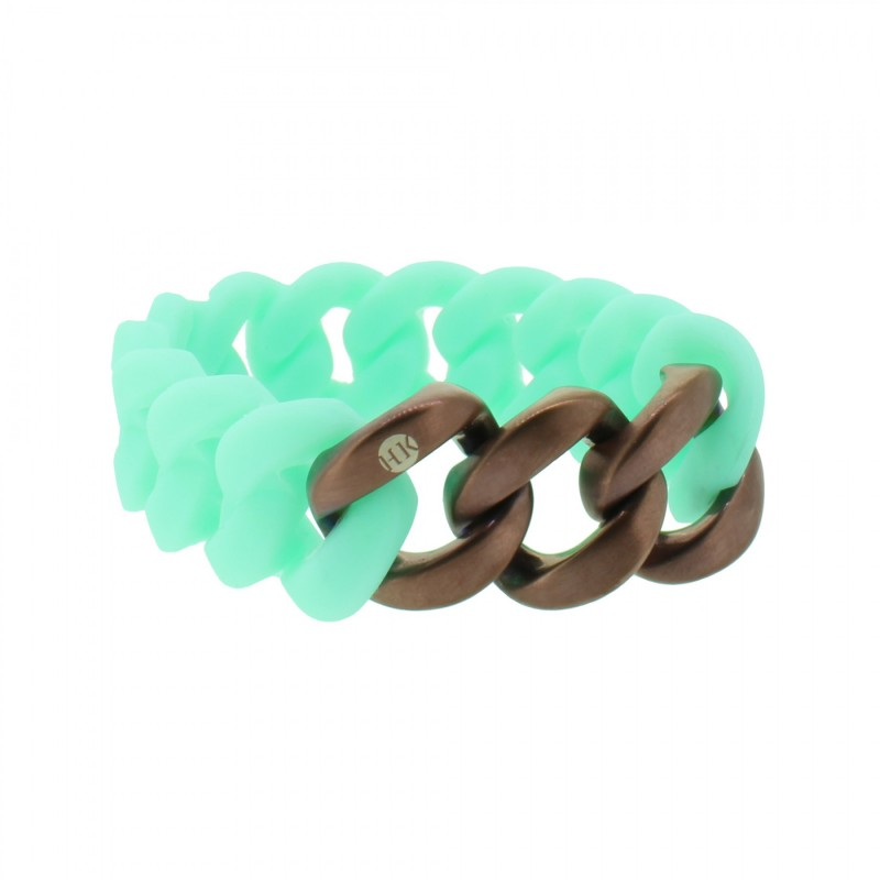 HANSE-KLUNKER ORIGINAL Damen Armband 107934 Edelstahl türkis bronze matt