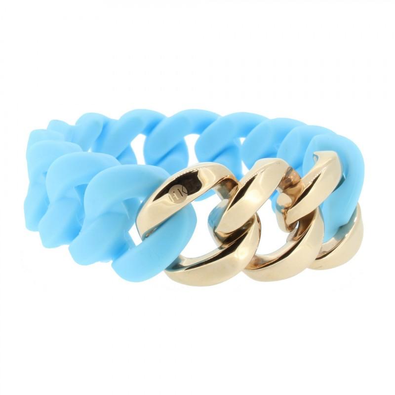 HANSE-KLUNKER ORIGINAL Damen Armband 106972 Edelstahl hellblau rosegold