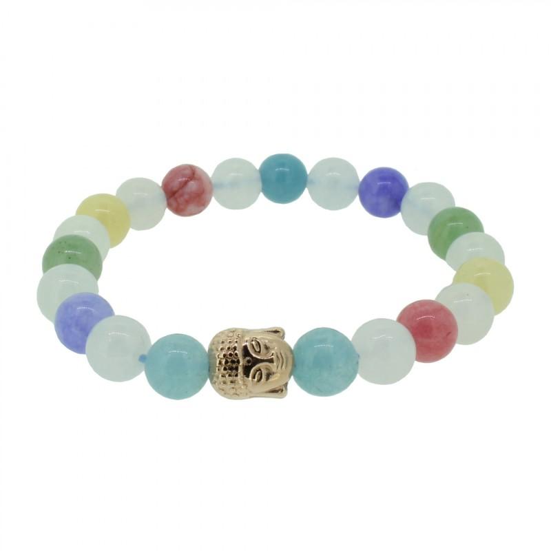 Silverart Buddha Armband 108085 FAB078 Aquamarin Achat Honig-Jade und Aventurin bunt Metal nickelfrei rosegeold