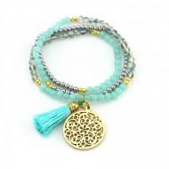 PEARL BAY Wickelarmband Perlen 107555 Quaste Amulett Edelstahl Kristall türkis silber