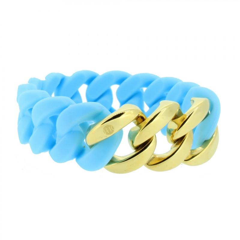 HANSE-KLUNKER ORIGINAL Damen Armband 106971 Edelstahl hellblau gold