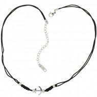 HAFEN-KLUNKER Choker Halskette Anker 108200 Textil Edelstahl Schwarz Silber