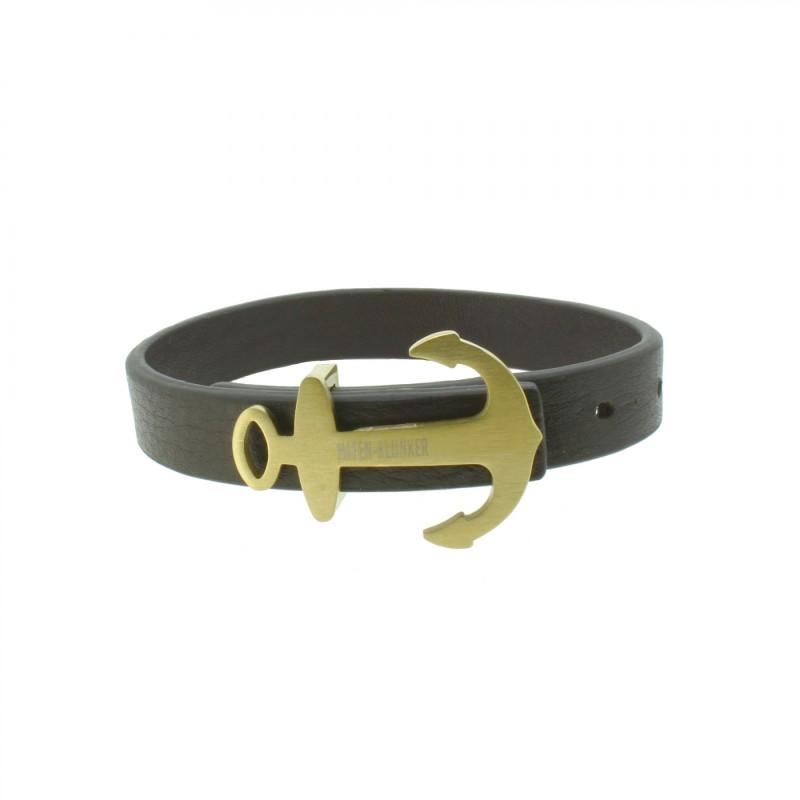 HAFEN-KLUNKER Anker Armband 107919 Edelstahl Leder braun gold matt