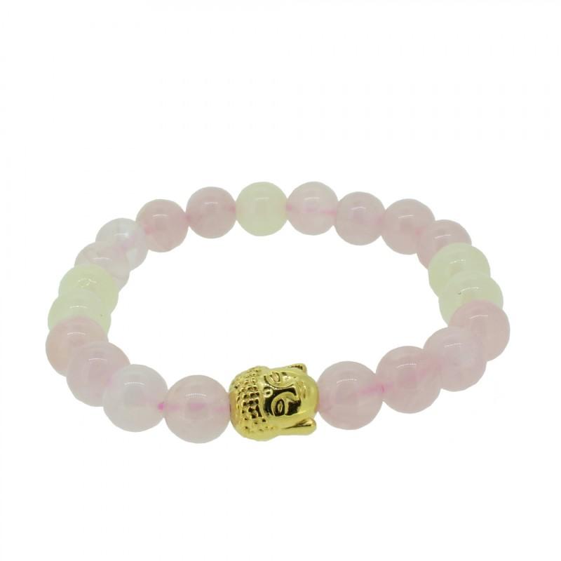 Silverart Buddha Armband 108090 FAB080 Rosequarz Baryt rosa beige Metal nickelfrei vergoldet