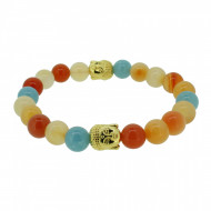 Silverart Buddha Armband 108098 FAB084 Achat Aquamarin orange blau Metal nickelfrei vergoldet