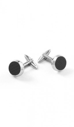 Grey Manschettenknöpfe 100062 Edelstahl Emaille silber schwarz