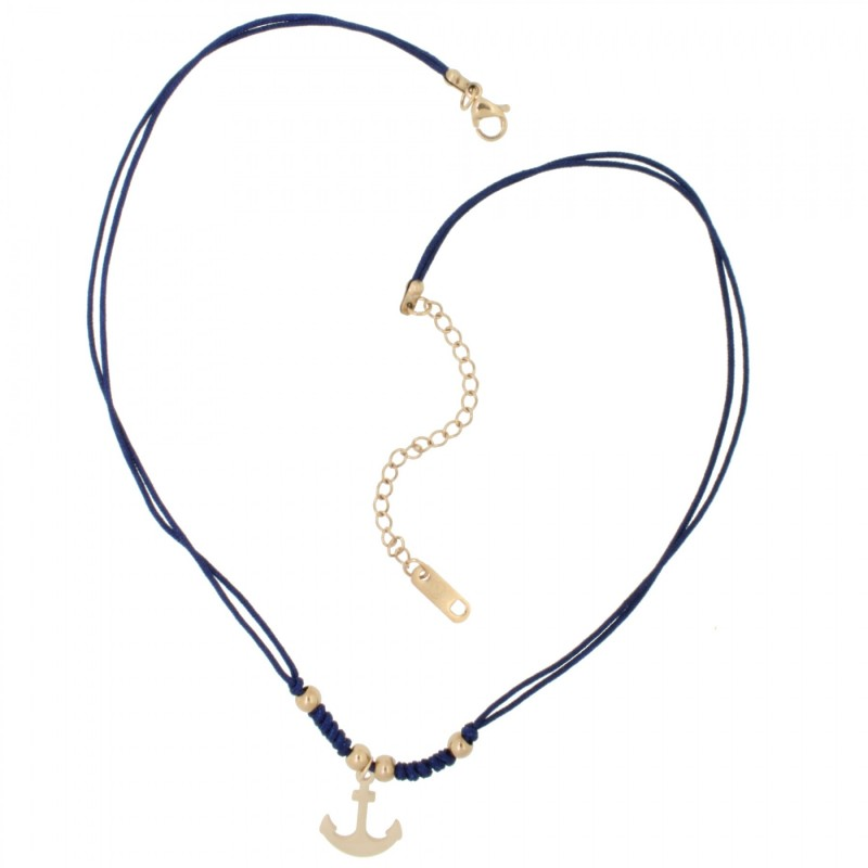 HAFEN-KLUNKER HARMONY Choker Halskette Anker 110430 Textil Edelstahl Blau Rosegold