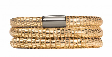 Endless JLo Armband Golden Reptil 1001-57 3 reihig Leder gold