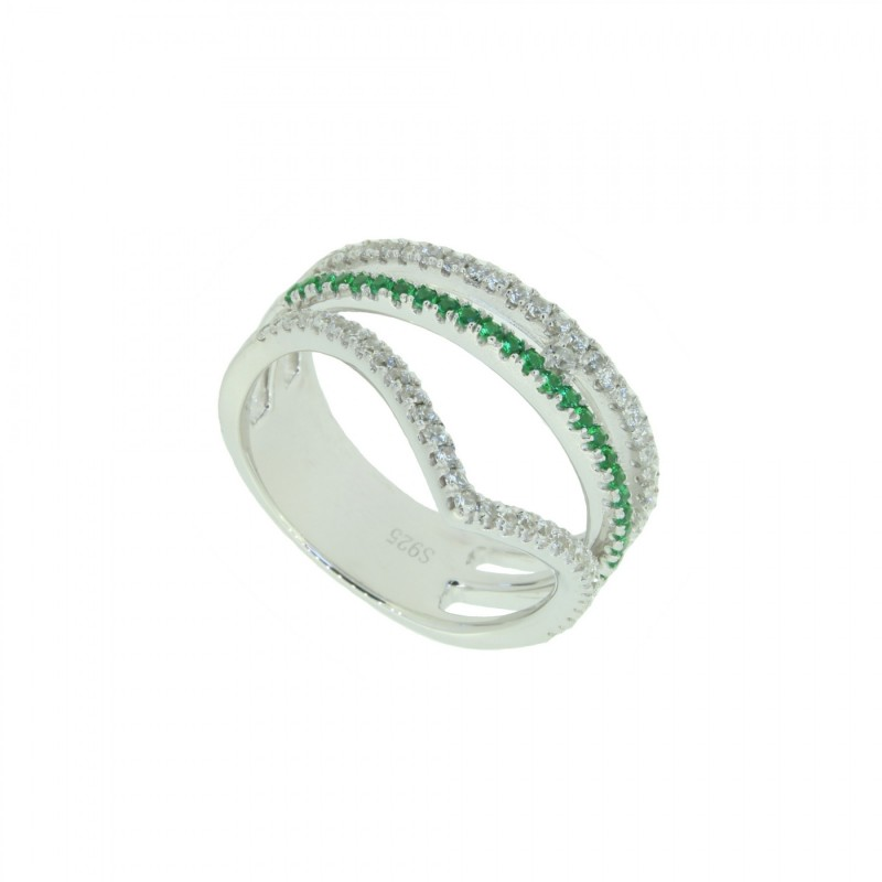 LOVELY SILVER Ring 107635 Silber 925 Zirkonia micro setting silber grün