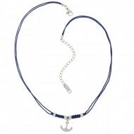HAFEN-KLUNKER Choker Halskette Anker 108191 Textil Edelstahl Blau Silber