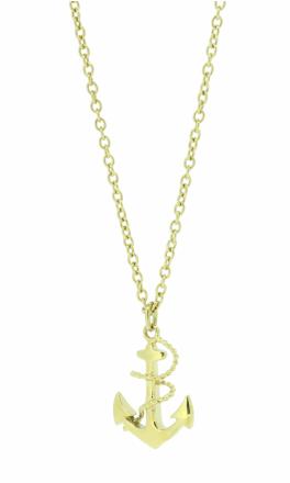 HAFEN-KLUNKER Glamour Collection Halskette Anker 108038 Edelstahl Anker mit Tau gold