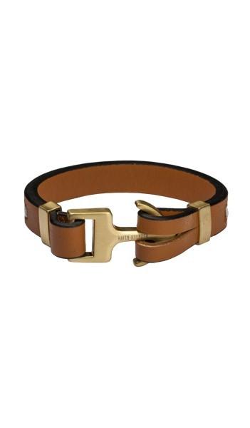 HAFEN-KLUNKER Anker Armband 107751 Edelstahl Leder camel gold matt