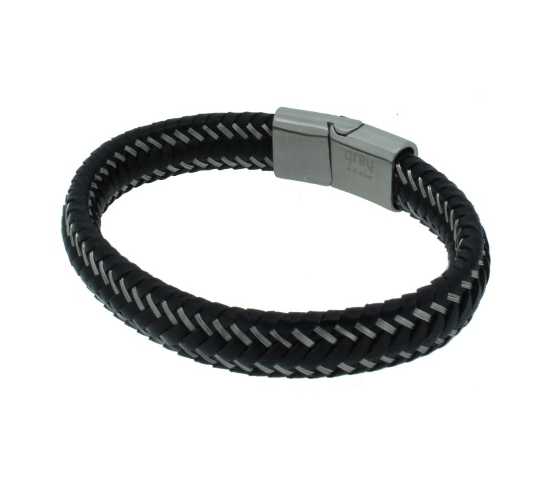 Grey Armband 107039 GAB001BK Edelstahl schwarz silber matt