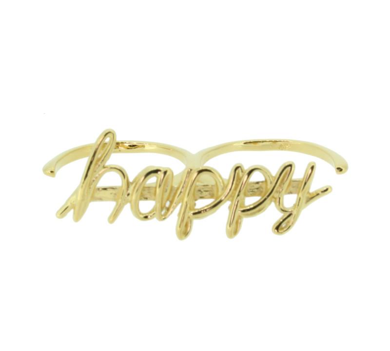 SilverArt Collection Ring Happy SR003-G Silber rhodiniert gold
