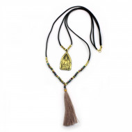 PEARL BAY Damen Kette 107610 Quaste Buddha Leder Kristall Metall beige schwarz bunt gold