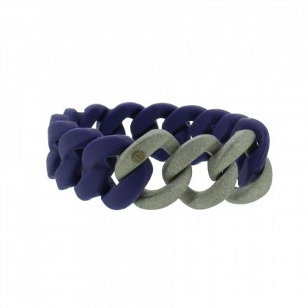 HANSE-KLUNKER ORIGINAL Damen Armband 107769 Edelstahl nachtblau silber sandgestrahlt