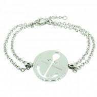 HAFEN-KLUNKER Glamour Collection Anker Armband 108034 Edelstahl Anker ausgestanzt rund silber