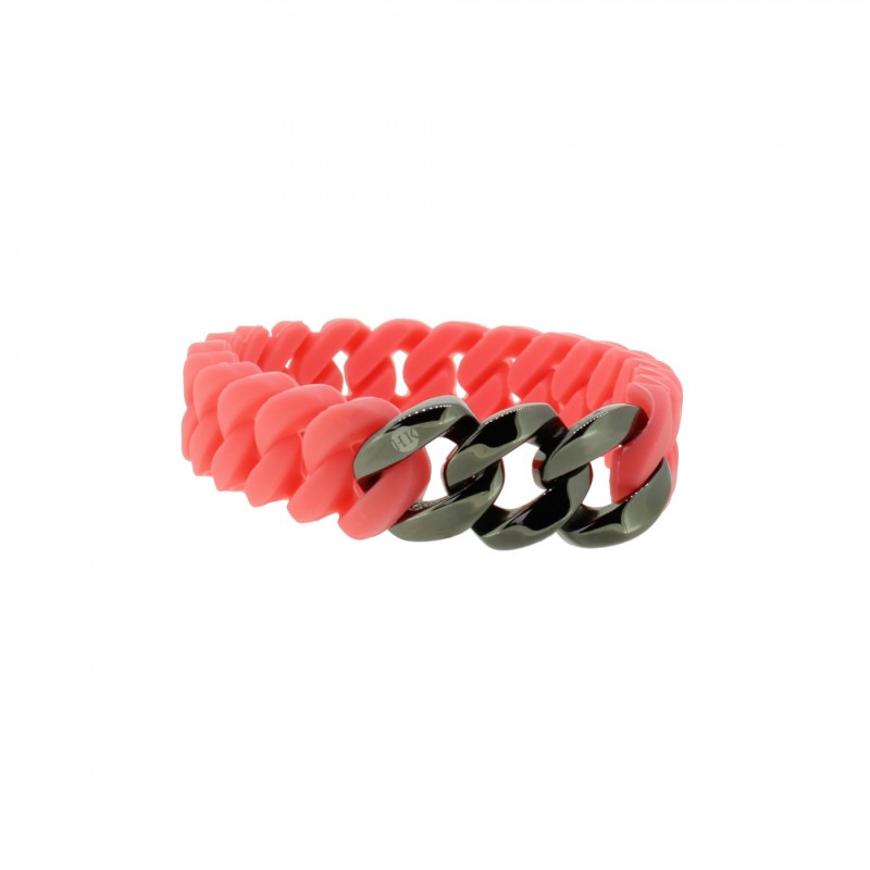HANSE-KLUNKER MINI Damen Armband 107711 Edelstahl koralle gun metal