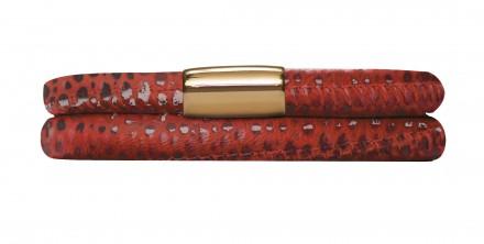 Endless JLo Armband Rot Reptil 1052-38 2 reihig Leder rot