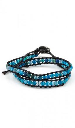 MARC SWAN Wickelarmband 100156 Leder blau